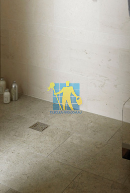 limestone tiles shower moleanos blue Sydney cleaning
