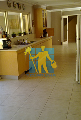 porcelain tiles floor inside furnished home after cleaning kitchen floors Narraweena