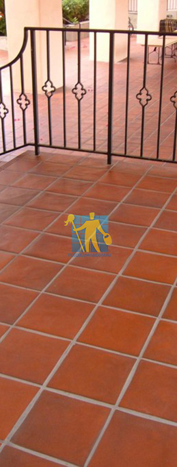 terracotta tile mediterranean patio light grout sealed
