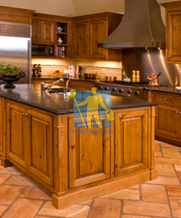 terracotta tile mediterranean traditional kitchen floor dark grout sealed irregular pattern