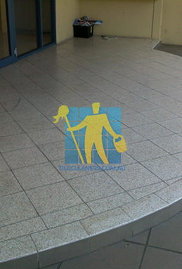terrazzo tiles outdoor floor entrance curved dirty before cleaning Sydney