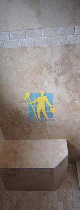 travertine tiles floor wall bathroom natural stone shower with seat Sydney